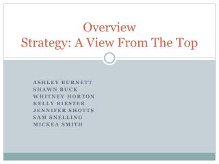 Overview Strategy: A View From The Top