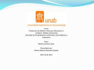 Curso: Producción de Medios y Recursos Educativos II.  Unidad 2. Medios Interactivos