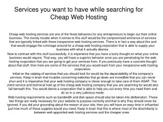 Services you want to have while searching for Cheap Web Host
