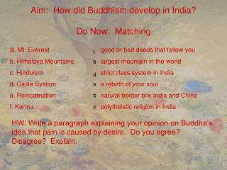 Aim:  How did Buddhism develop in India? Do Now:  Matching