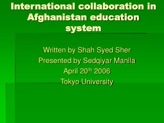 International collaboration in Afghanistan education system