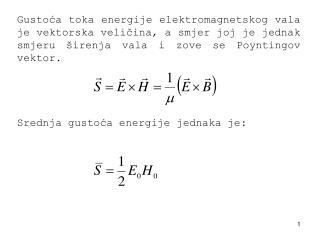 S rednja gustoća energije jednaka je :