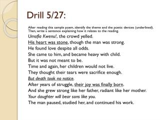 Drill  5/27: