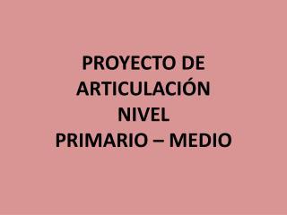 PROYECTO DE ARTICULACIÓN NIVEL  PRIMARIO – MEDIO