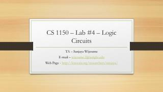 CS 1150  – Lab #4 – Logic Circuits