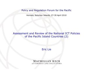 Assessment and Review of the National ICT Policies  of the Pacific Island Countries (2)