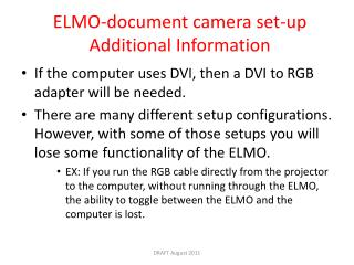 ELMO-document camera  set-up Additional Information