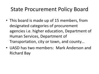 State Procurement Policy Board