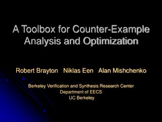 A Toolbox for Counter-Example Analysis and Optimization