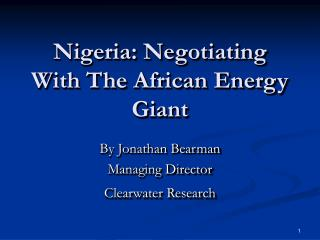 Nigeria: Negotiating With The African Energy Giant