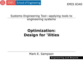 Optimization: Design for 'ilities