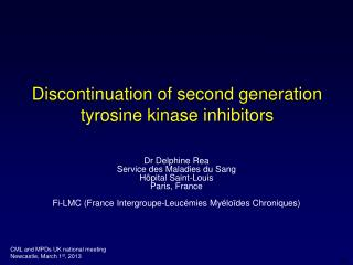 Discontinuation of second generation tyrosine kinase inhibitors