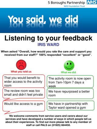Listening to your feedback IRIS WARD