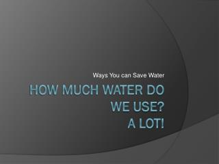 How Much Water Do We Use?  A Lot!