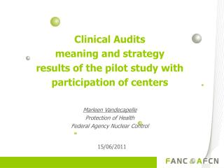 Clinical Audits meaning and strategy  results of the pilot study with participation of centers
