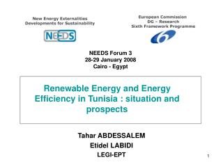 Renewable Energy and Energy Efficiency in Tunisia : situation and prospects