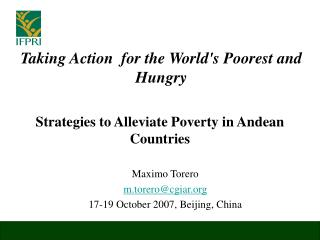 Strategies to Alleviate Poverty in Andean Countries