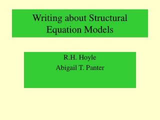 Writing about Structural Equation Models