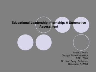 Educational Leadership Internship: A Summative Assessment