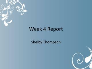 Week 4 Report