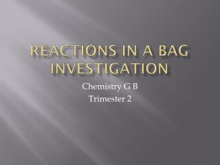 Reactions in a bag Investigation