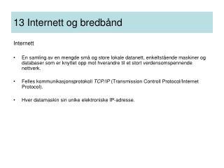 13 Internett og bredbånd