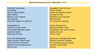Mahomets-Gesang ( Canto a Maometto, 1777)