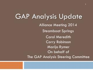 GAP Analysis Update