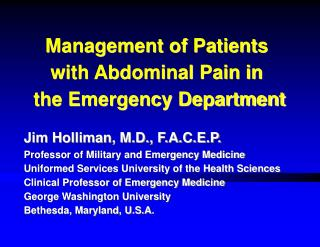 Management of Patients    with Abdominal Pain in      the Emergency Department