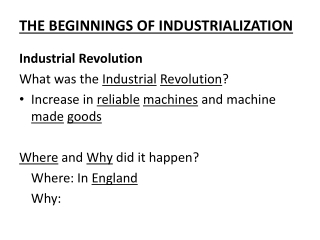 Industrial Revolution The Beginning of the Industrialization Section 25.1