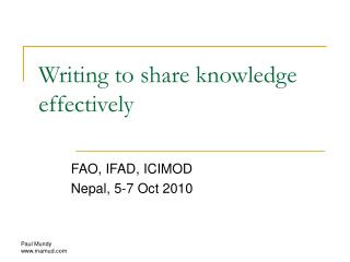 Writing to share knowledge effectively