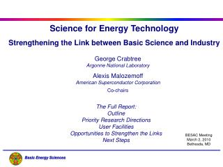 Science for Energy Technology Strengthening the Link between Basic Science and Industry