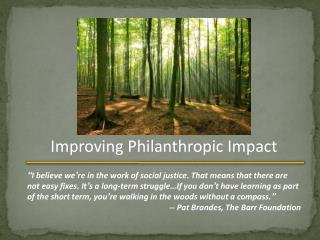 Improving Philanthropic Impact