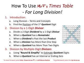 How To  Use  MrV's Times Table  -  For Long Division!