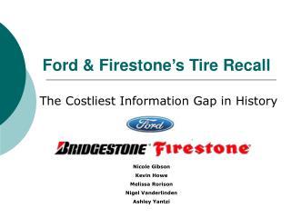 Ford & Firestone's Tire Recall