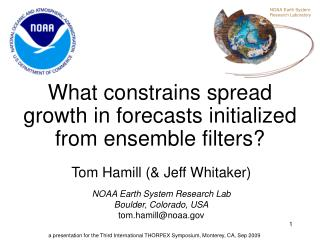 What constrains spread growth in forecasts initialized from ensemble filters?