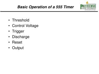 Basic Operation of a 555 Timer