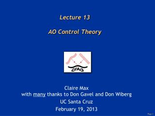 Lecture 13 AO Control Theory
