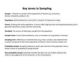 Key terms in Sampling