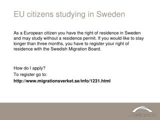 EU citizens studying in Sweden