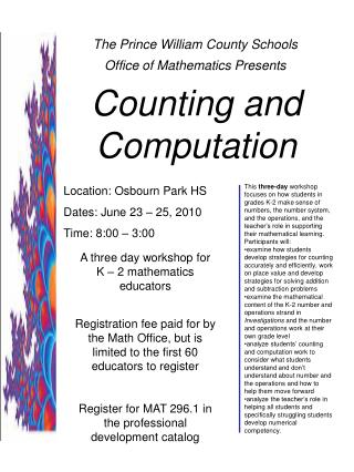 The Prince William County Schools  Office of Mathematics Presents