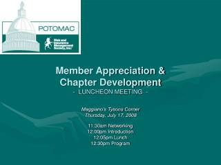 Member Appreciation &  Chapter Development  -  LUNCHEON MEETING  -
