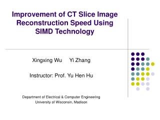 Improvement of CT Slice Image Reconstruction Speed Using SIMD Technology