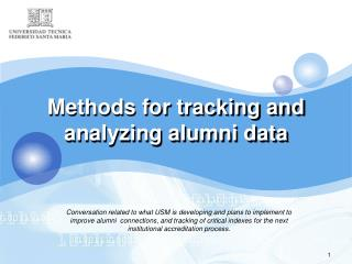 Methods for  tracking and  analyzing alumni  data