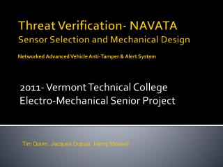 Threat Verification- NAVATA Sensor Selection and Mechanical Design