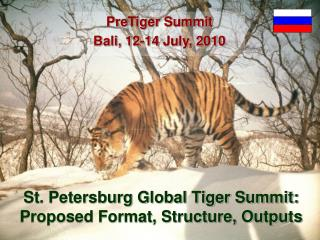 St. Petersburg Global Tiger Summit: Proposed Format, Structure, Outputs