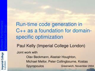 Run-time code generation in C++ as a foundation for domain-specific optimization