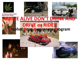 ARRIVE ALIVE DON'T DRINK AND DRIVE or RIDE!
