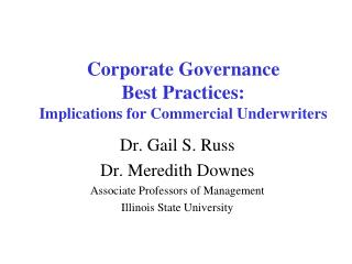 Corporate Governance  Best Practices: Implications for Commercial Underwriters