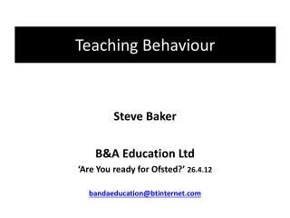 Teaching Behaviour